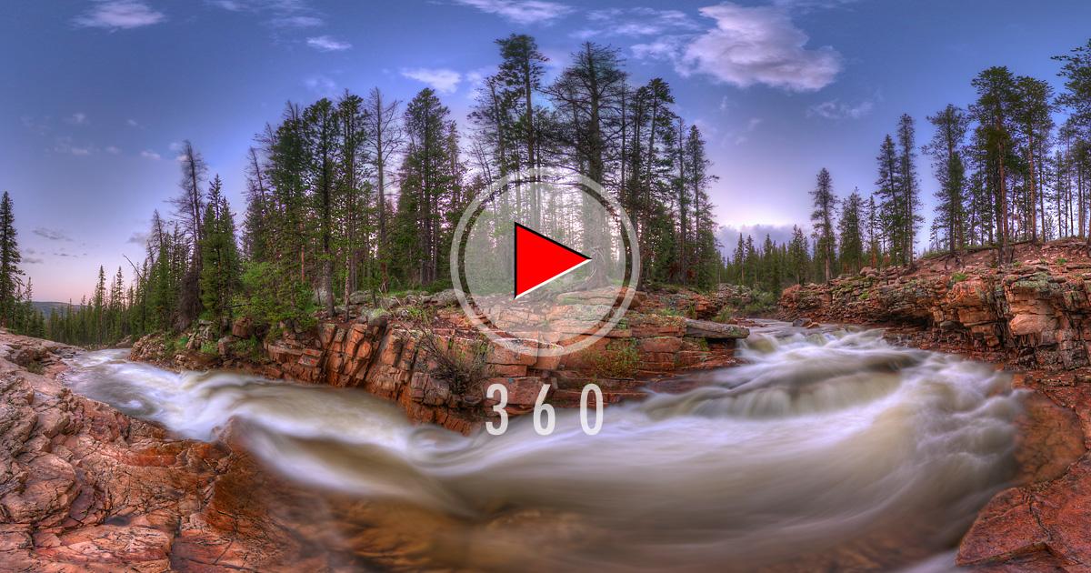Provo River Falls in Utah, USA-3D Panorama