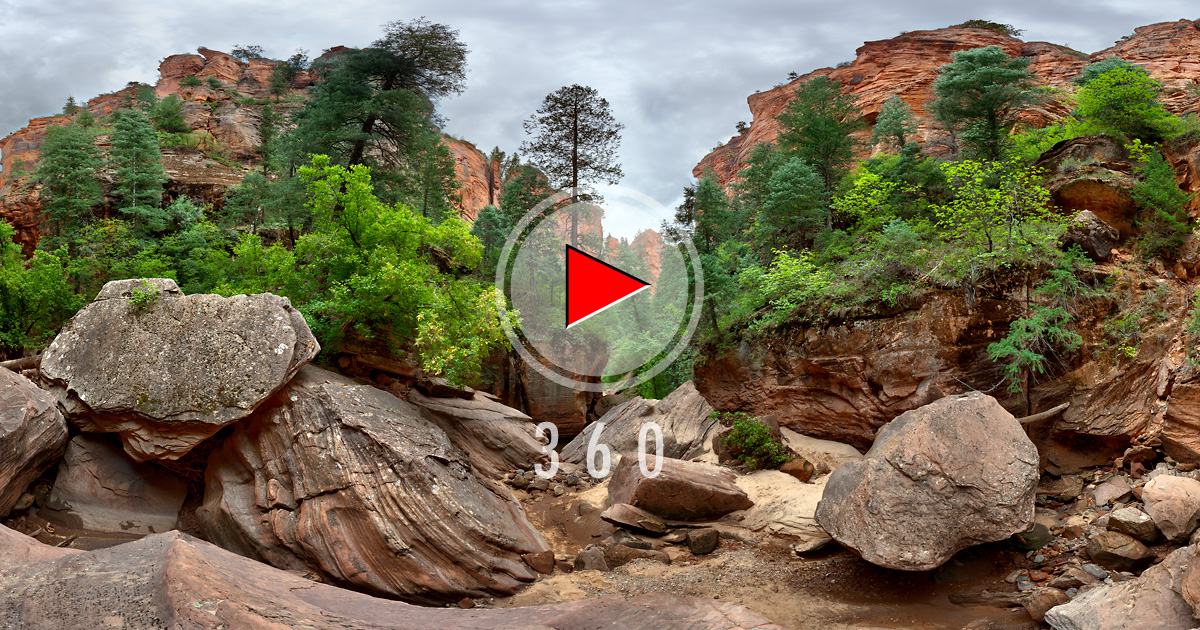 Zion National Park-3D Panorama-Left Fork North Creek